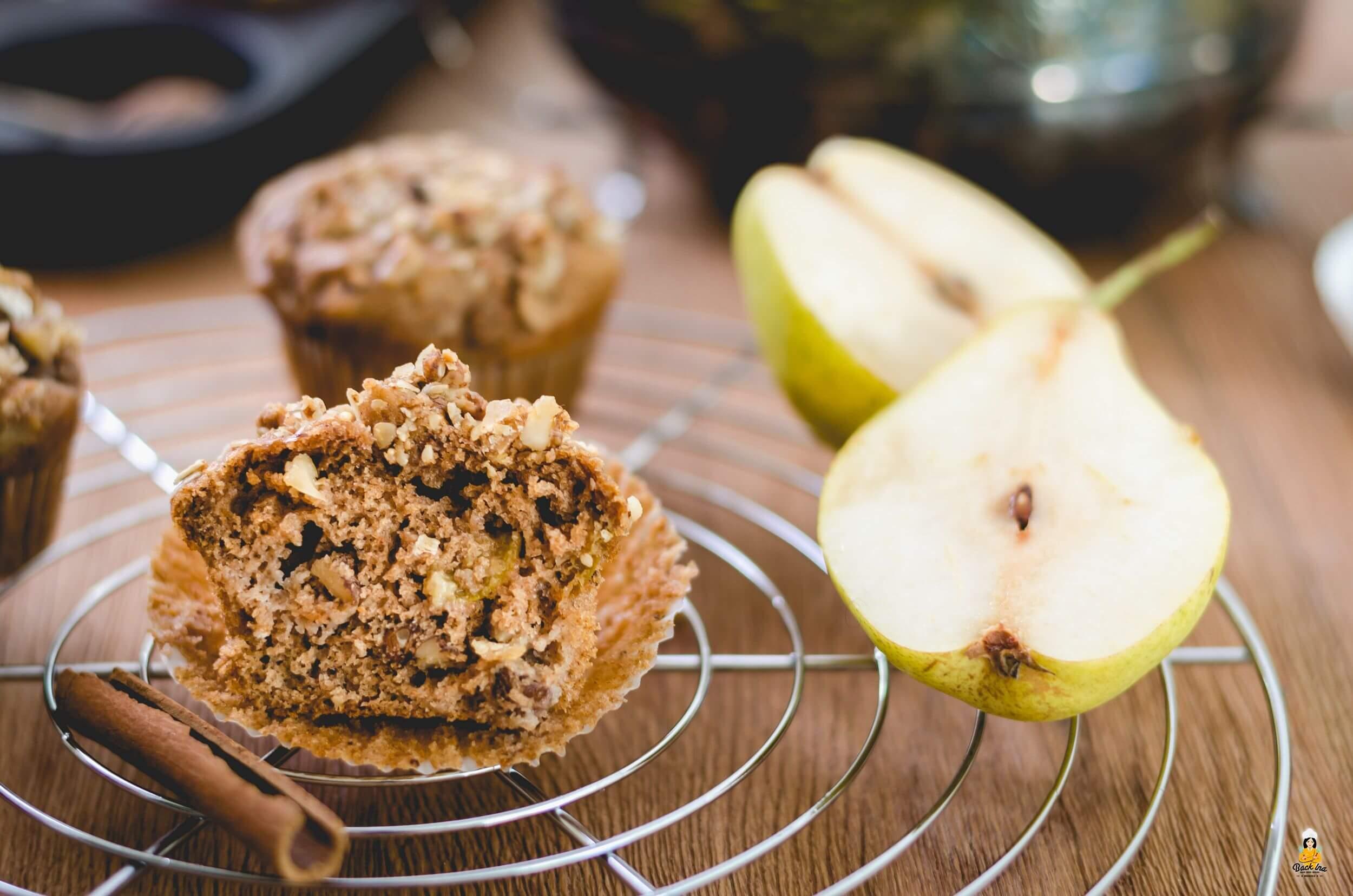 Vollkorn Muffins mit Birnen ohne Zucker