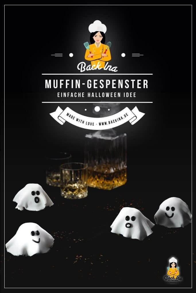 Du suchst eine einfache Gebäck-Idee für Halloween? Wie wäre es mit diesen Halloween Geistern aus Muffins? Die Gespenster bestehen aus einem einfachen Muffin, der mit Marzipan und schwarzem Fondant verziert wird - so entsteht ein einfaches Halloween Gebäck, das sich auch perfekt für Kinderpartys zu Halloween eignet! | BackIna.de