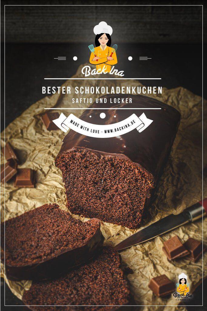 Suchst du den besten Schokoladenkuchen? Einen Schokokuchen, der gleichzeitig locker und saftig ist, so ähnlich wie bei der bekannten Backmischung? Dann ist dieses Schokoladenkuchen Rezept perfekt für dich - dazu noch eine dicke Schicht Schokoglasur und der Genuss ist perfekt! Das Geheimnis im Teig ist unter anderem Creme fraiche für mehr Saftigkeit. | BackIna.de