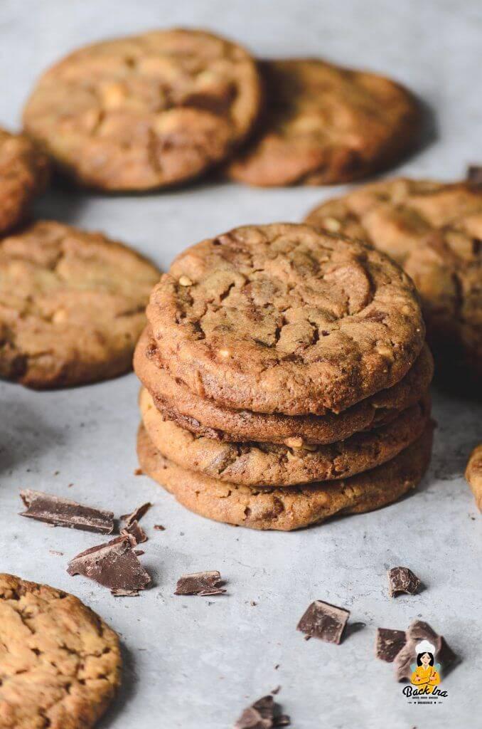 Schoko-Erdnussbutter Cookies nach amerikanischer Art