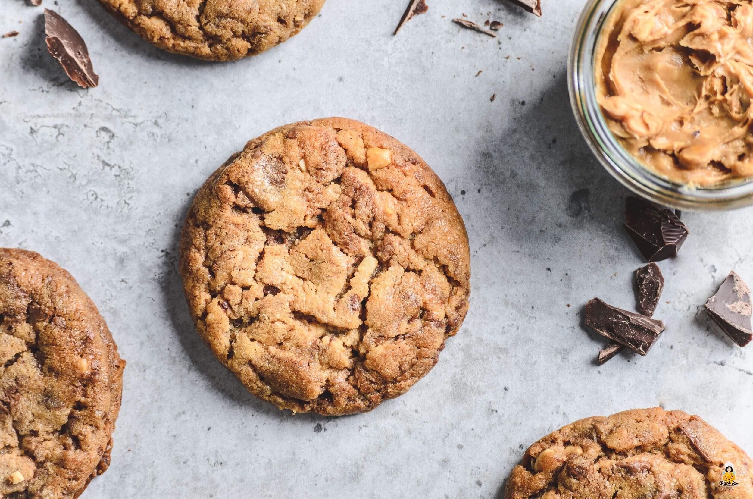 Weiche Erdnussbutter Cookies mit Nutella Swirl