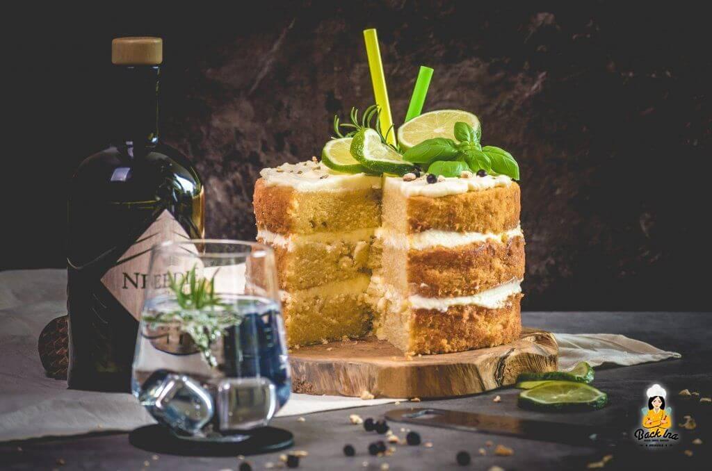 Naked Cake einfach und lecker - Kuchen mit Gin Tonic Aroma