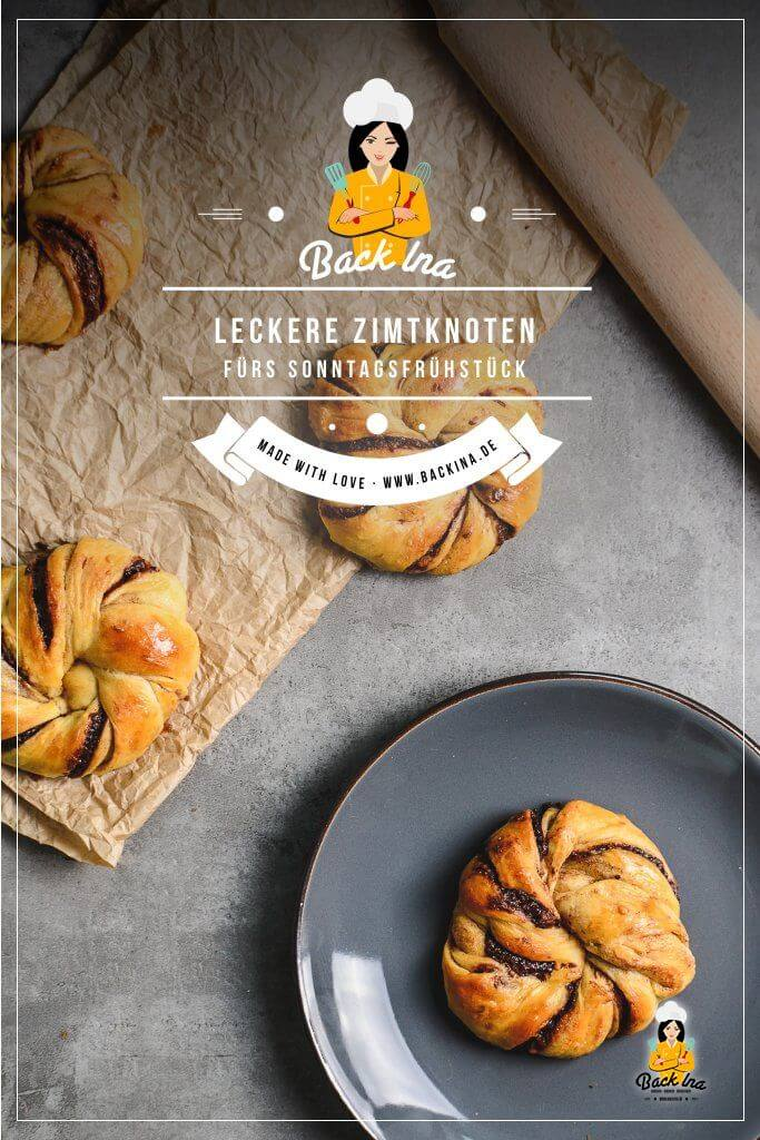 Du suchst ein Rezept für Zimtknoten? Dann ist dieses Hefegebäck mit Nutella und Zimt genau richtig für dich - eine Abwandlung der schwedischen Zimtknoten, die noch zusätzlich mit Schokolade gefüllt ist. Das perfekte Gebäck für einen Brunch zum Beispiel den Osterbrunch! | BackIna.de
