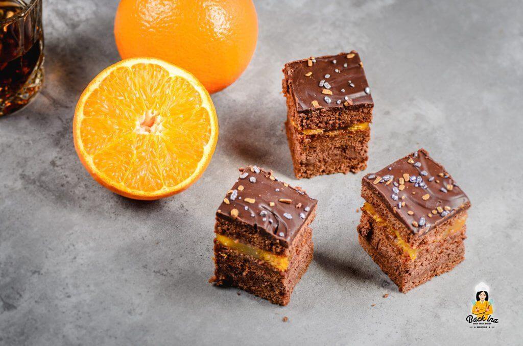 Eine Männertorte mit Schokolade und Orange - die Herrenschnitten sind raffiniert, aber nicht zu süß