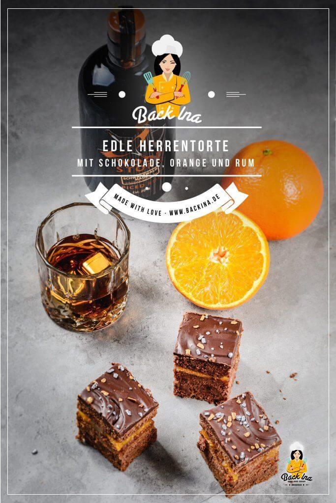 Du suchst eine Schokotorte, die nicht zu süß ist? Diese Herrentorte mit Schokolade, Orange und Rum ist richtig edel und schmeckt nicht nur Männern! Super saftig und schön schokoladig ist diese Herrentorte eine tolle Idee für Familienfeste und Geburtstage. Die ideale Geburtstagstorte nicht nur für Männer! | BackIna.de