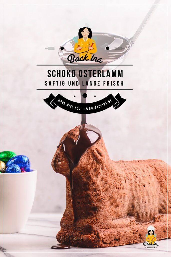 Du suchst ein Rezept für Schoko Osterlamm? Dieses kannst du ganz einfach selber machen mit Sahne statt Butter im Teig - super saftig und lange frisch. Das schwarze Schaf ist der Hingucker auf der Kaffeetafel zu Ostern! | BackIna.de