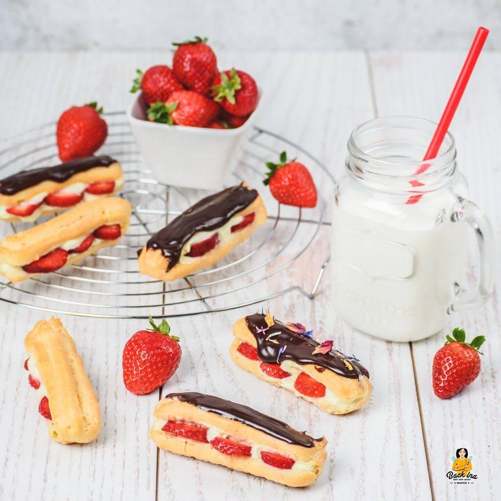 Eclairs selber machen mit Erdbeeren und Vanillecreme
