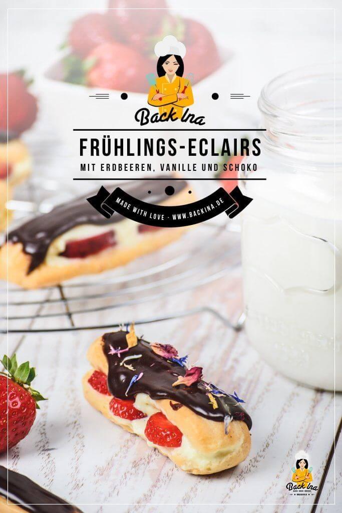 Du suchst ein Rezepte für Eclairs? Das Brandteig Gebäck kannst du ganz leicht selber machen. Ich zeige dir mein Rezept für Erdbeer Eclairs mit Vanillecreme und Schoko Glasur - perfekt für die Erdbeerzeit! Entdecke dieses Gebäck mit Erdbeeren und alle Tipps zu Brandteig auf meinem Blog! | BackIna.de