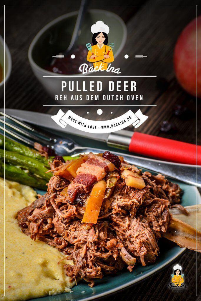 Du suchst ein besonderes Wildgericht? Dann ist dieses Rezept für Pulled Deer genau richtig für dich! Mit Fleisch vom Reh, das sonst eher selten als Braten serviert wird, entsteht ein wunderbar zartes und aromatisches Wildgericht: Ähnlich wie Pulled Pork, nur viel aromatischer und leicht fruchtig! Probiere diese Idee mit Wild aus! | BackIna.de