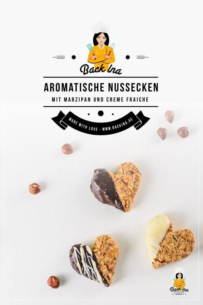 Du suchst ein saftiges und einfaches Nussecken Rezept? Dann sind diese Nussecken mit Marzipan und Creme Fraiche genau richtig für dich! Saftig und wandelbar - nicht nur mit Haselnüssen, sondern auch mit Mandeln oder anderen Nüssen möglich. Diese Nussecken werden dich begeistern :) | BackIna.de