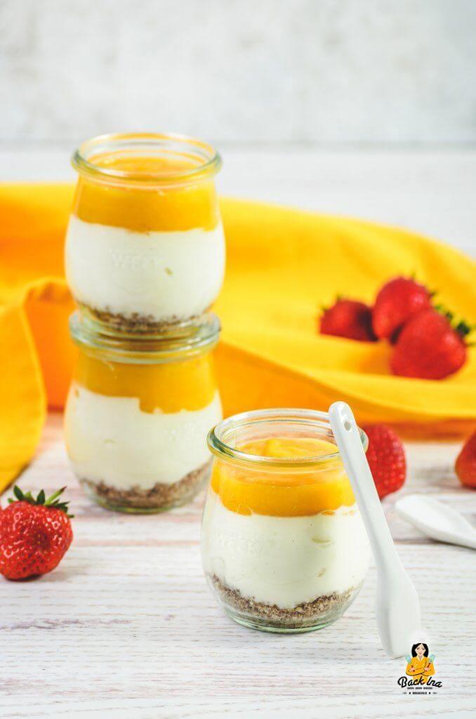 Cheesecake im Glas mit Mango - das perfekte Sommerdessert