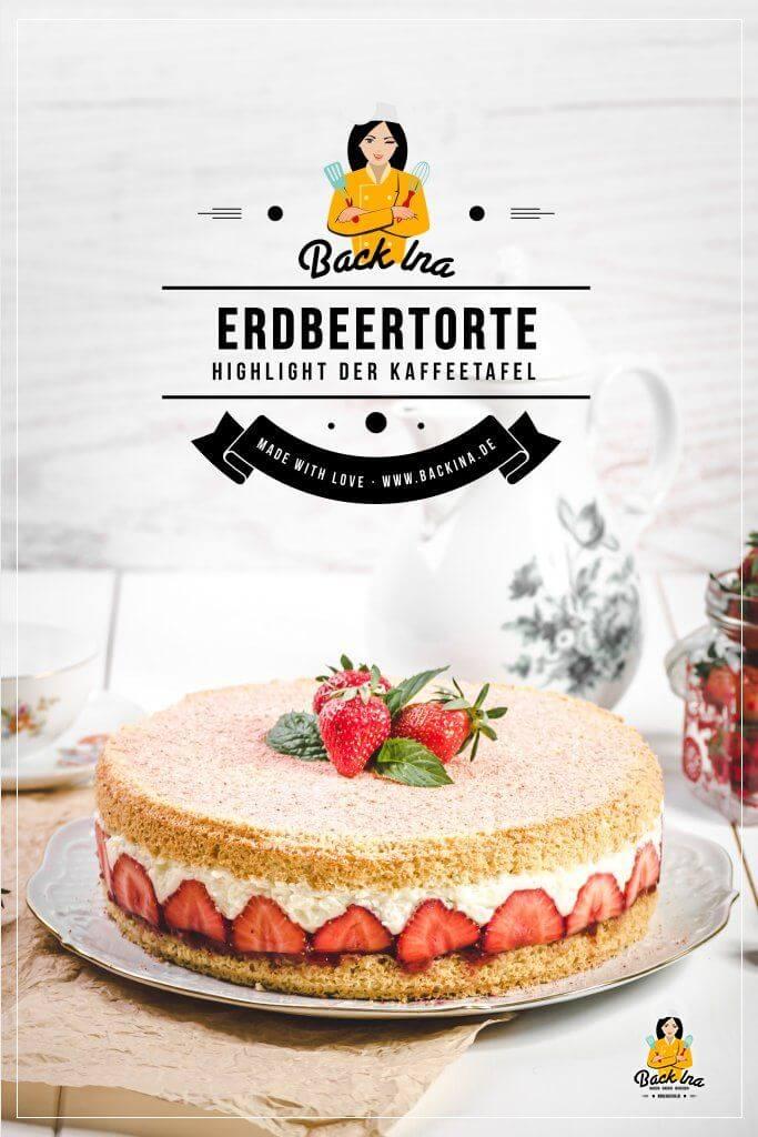 Du suchst ein einfaches Rezept für eine Erdbeertorte? Diese Mandel-Erdbeertorte ist das Highlight auf deiner Kaffeetafel! Mit einer lockeren Vanillecreme, einem leichten Mandel-Boden und saftigen Erdbeeren ist sie einfach gemacht, aber sehr effektvoll. Probier dieses Rezeüt für Geburtstage oder den Sonntagskaffee aus! | BackIna.de