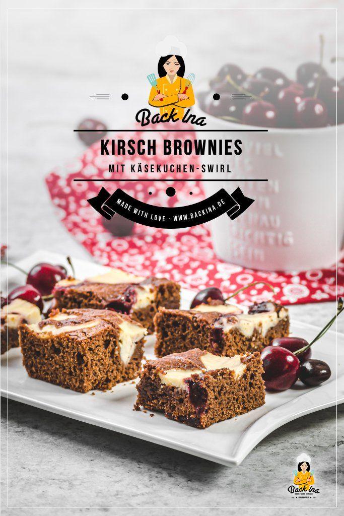 Perfekt für Partys und große Runden: Saftige Kirsch-Brownies mit Cheesecake-Swirl! Kann es eine bessere Kombi als Kirschen und Schokolade geben? Dieses Rezept für Kirschkuchen mit Schokolade wird dich begeistern! Die Brownies sind dabei etwas lockerer, daher geht ruhig auch mal ein Stück mehr von diesen Kirsch-Brownies ;) | BackIna.de
