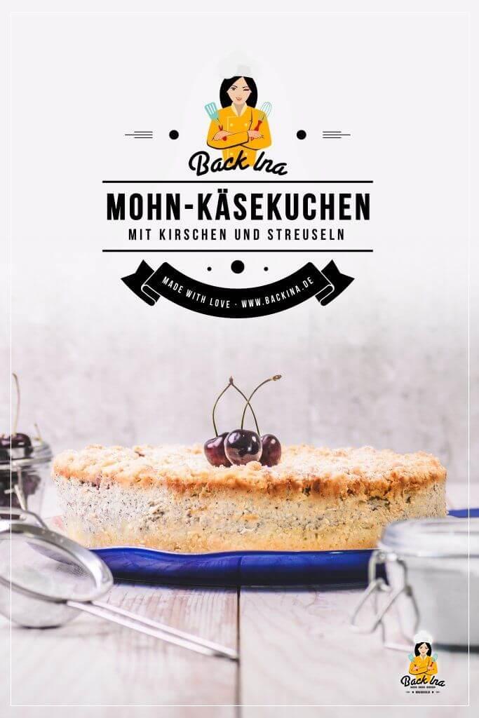 Suchst du eine Idee für einen besonderen Käsekuchen? Dieser Mohn-Käsekuchen mit Kirschen und Streuseln ist super cremig und dabei ganz einfach zu machen. Auch ideal zum Vorbereiten mehrere Tage im Voraus, z.B. zu Geburtstagsfeiern. Ein besonderer Käsekuchen! | BackIna.de