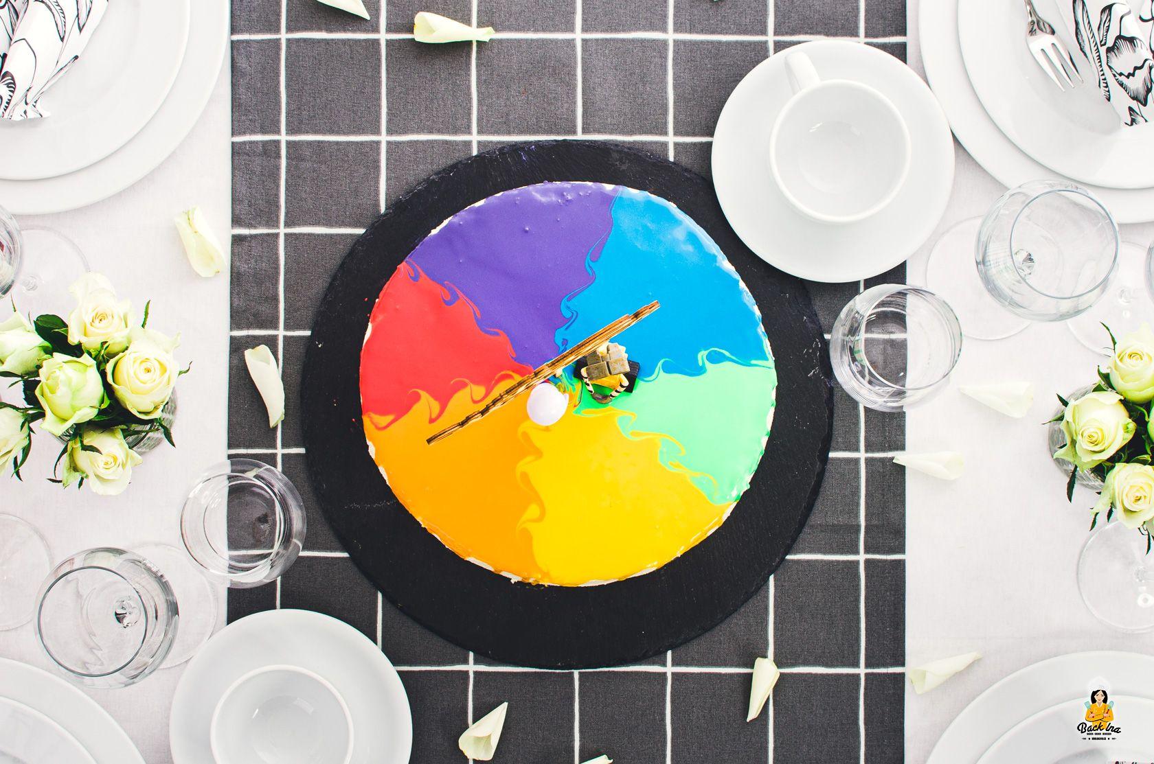 Regenbogen Torte als Drip Cake