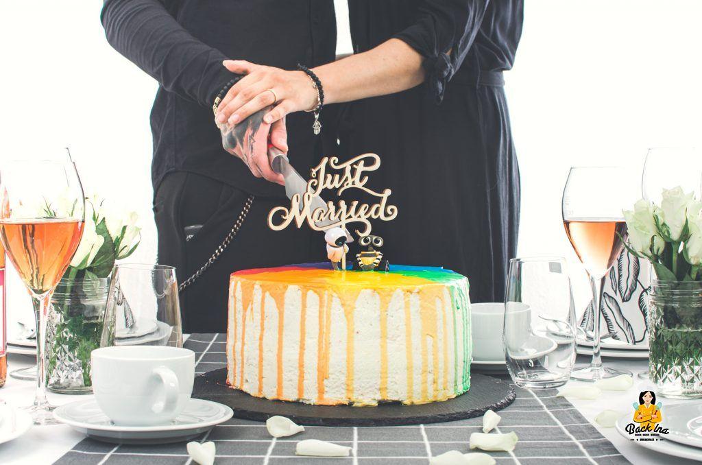 Pride Hochzeitstorte mit Regenbogen-Effekt