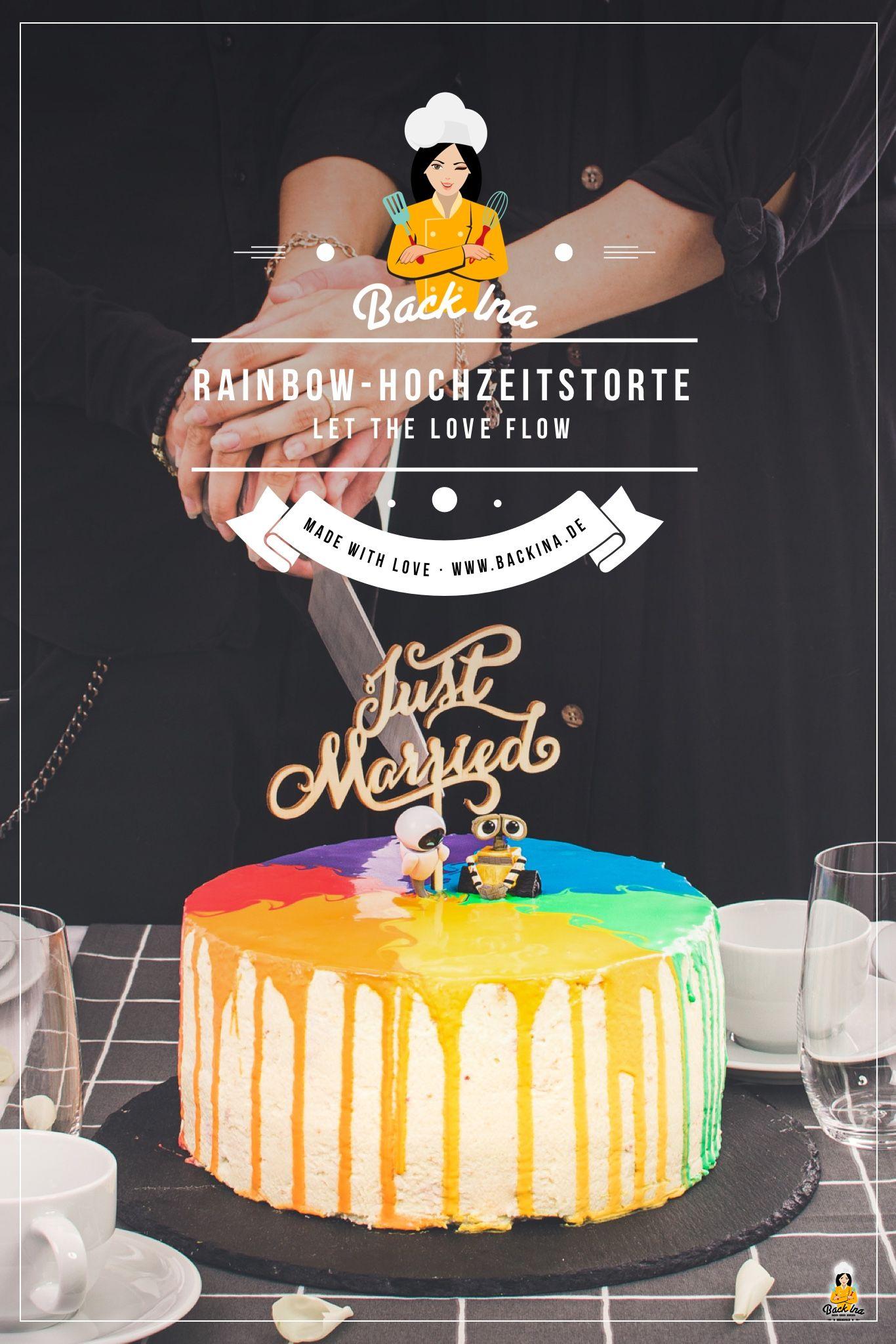 Eine besondere Torte für eine besondere Hochzeit: Diese Regenbogen Torte in Form eines Drip Cakes ist perfekt für eine LGBTQ-Hochzeit! Ohne den Topper kann diese Torte auch als Regenbogen Geburtstagstorte umgesetzt werden. | BackIna.de