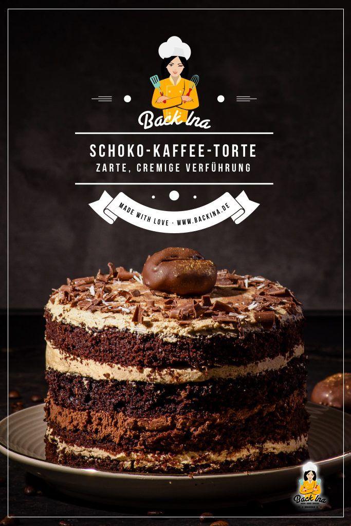 Du liebst Kaffee ud Schokolade? Dann ist diese Schoko-Kaffee-Torte genau das Richtige für dich! Eine cremige Kaffeecreme mit saftigen Schoko-Kaffee-Böden - die perfekte Torte für Chocoholics und Kaffee-Junkies! | BackIna.de