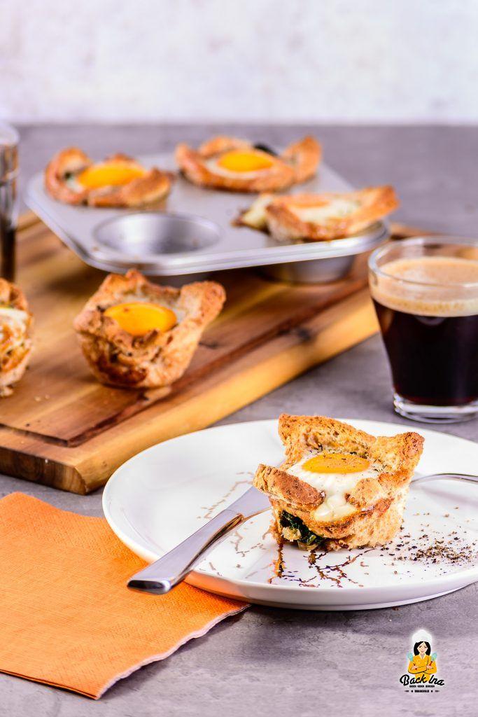 Perfekt zum Brunch: Ei-Muffins mit Spinat und Toast