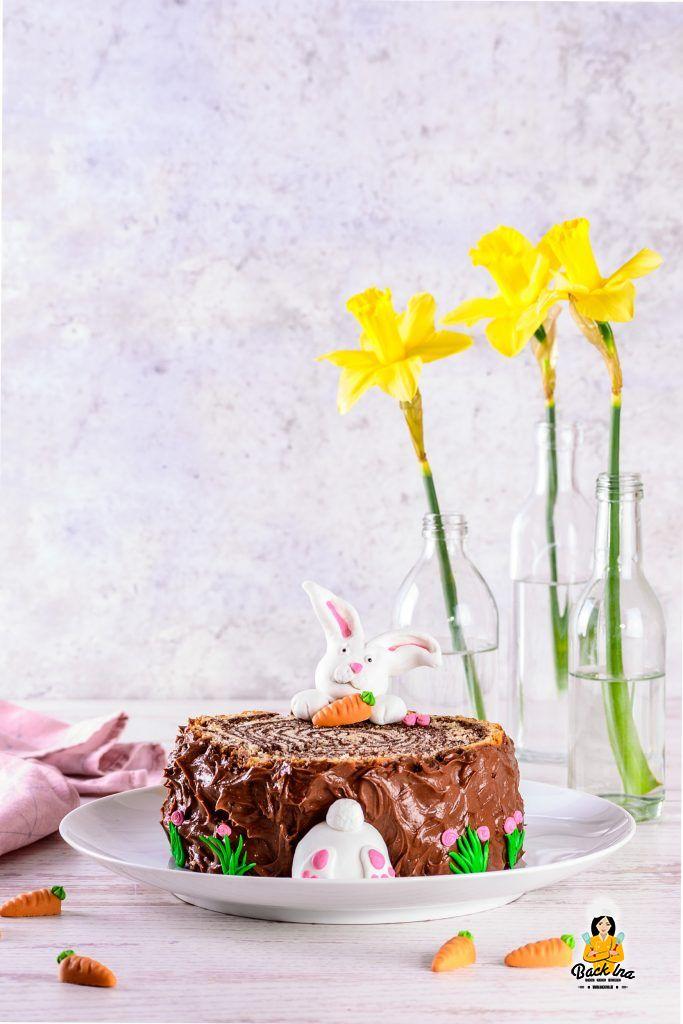 Osterhasen Torte - einfacher Baumstamm Marmorkuchen mit Hasen zu Ostern