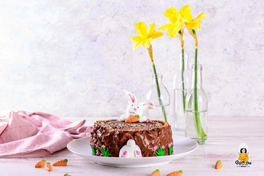 Ostertorte 2020: Osterhasen Baumstamm Torte