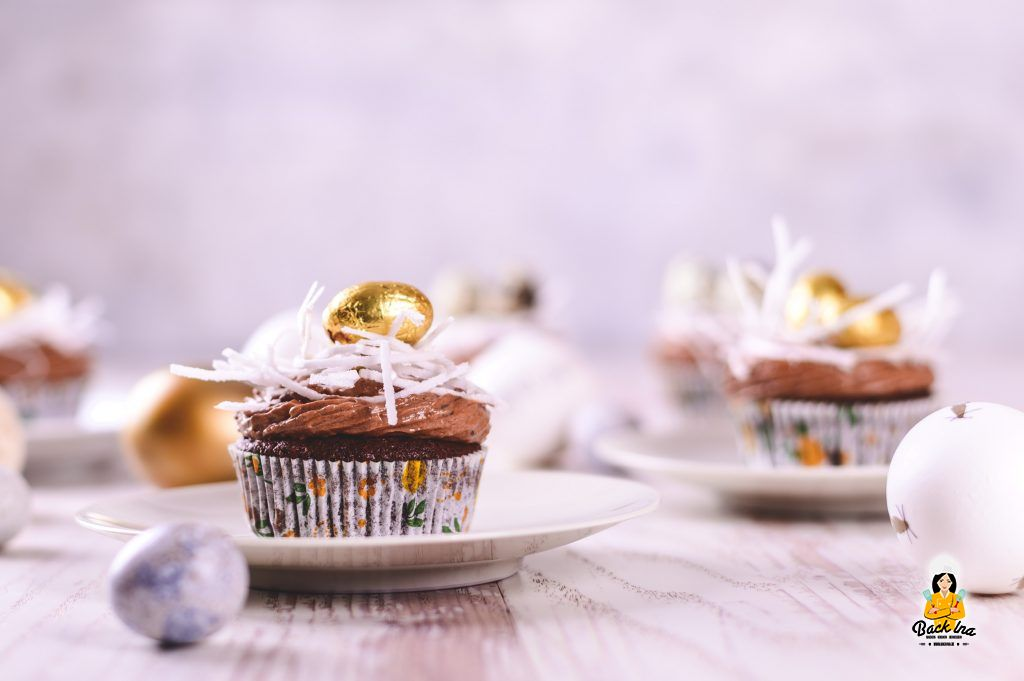 Schoko Cupcakes mit Osternestern für den Osterkaffee