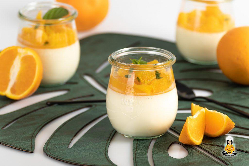 Orangen Panna Cotta mit Minze