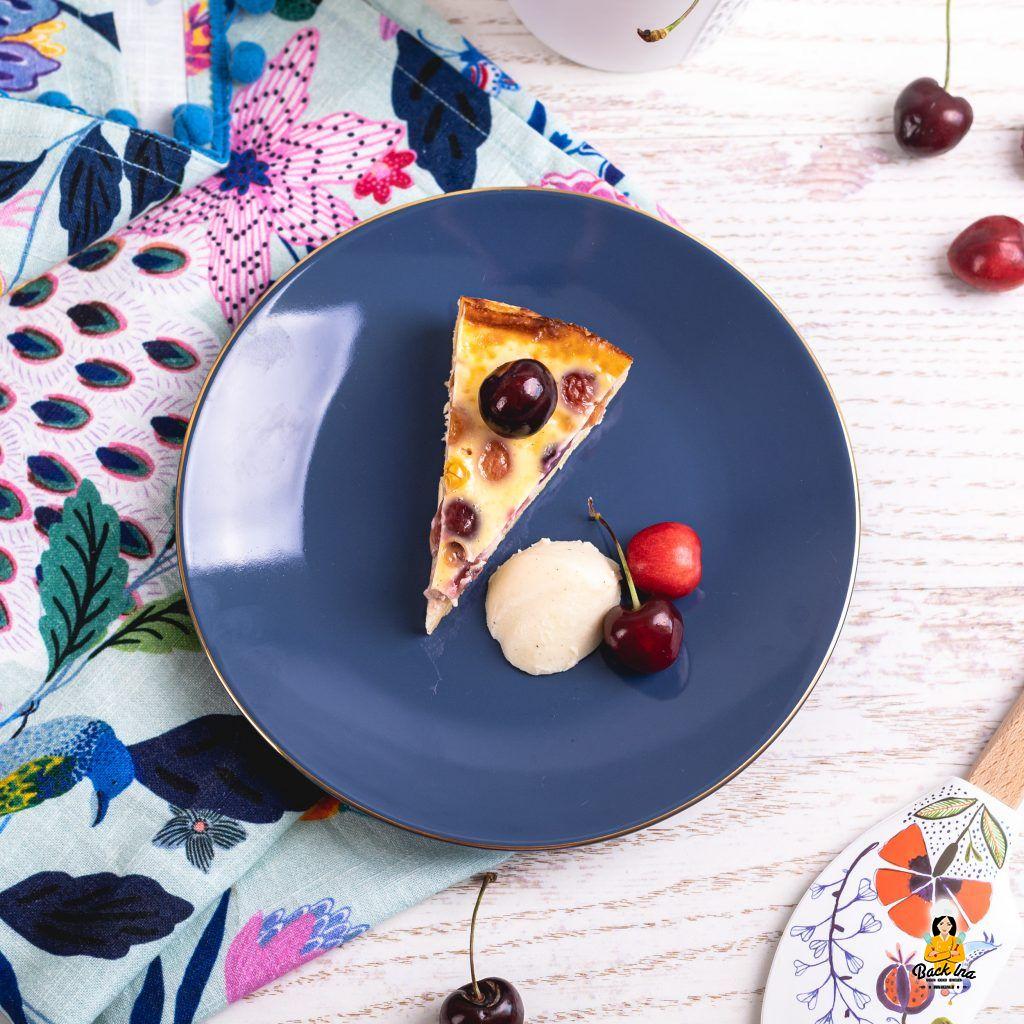 Kirschkuchen mit Sahne-Eicreme aus Frankreich: Clafoutis