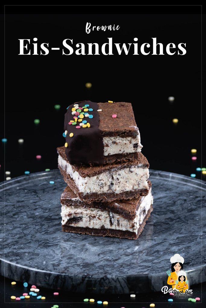 Schokoladig, cremig und eiskalt: Brownie Eiscreme Sandwiches lassen sich ganz einfach daheim zubereiten und schmecken einfach genial! Das perfekte Dessert für Sommerpartys, Picknicks und Kindergeburtstage! | BackIna.de