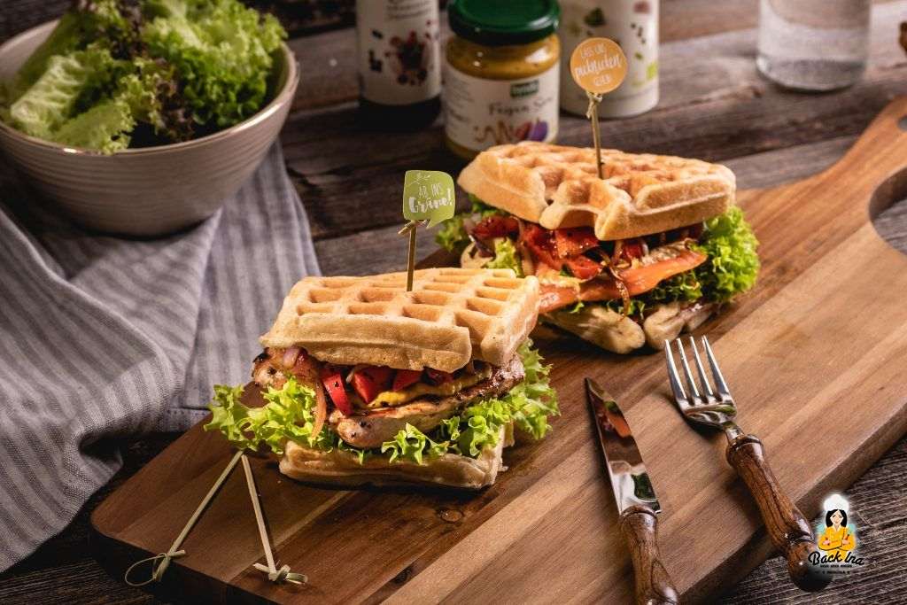Herzhafte Waffelsandwiches mit Bio-Produkten selber machen