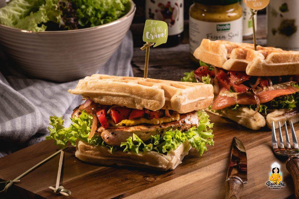 Puten-Sandwich mit Dinkel-Vollkornwaffeln - Rezept fürs Picknick