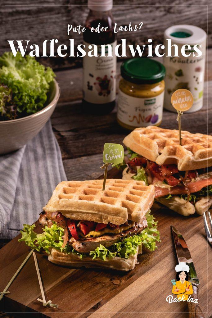 Suchst du eine besondere Idee fürs Picknick oder als Snack? Diese herzhaften Waffelsandwiches mit Pute und Lachs sowie frischem Gemüse sind genau richtig! Eine besondere Idee für den Sommer! | BackIna.de