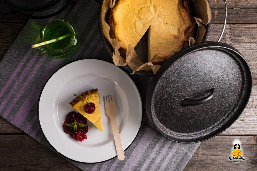 Käsekuchen aus dem Dutch Oven vom Grill