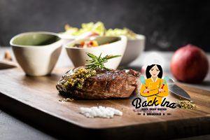 Steak mit Pfirsich Salsa