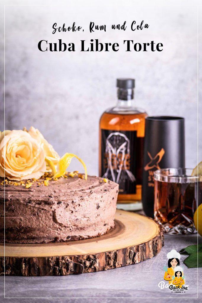 Suchst du eine besondere Schokotorte? Dieser Cocktailkuchen mit Rum, Cola und Zitrone ist genau richtig für Cuba Libre Liebhaber. Probier diese saftige Schokotorte aus! | BackIna.de
