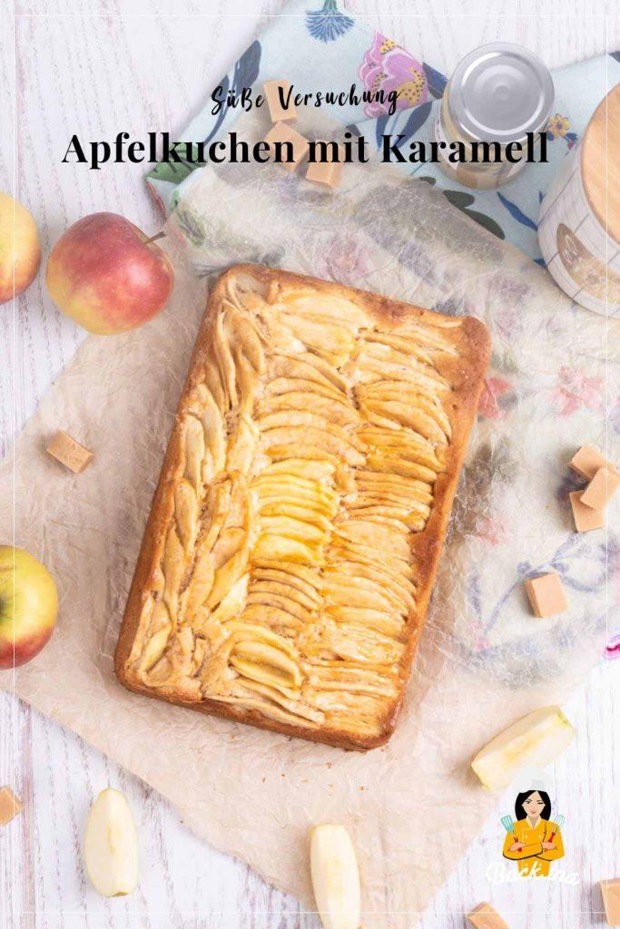 Apfel und Karamell - eine Traumkombination. Hier findest du das Rezept für diesen schnellen Apfel-Karamell-Kuchen mit Dulce de Leche. Probiere diesen einfachen Blechkuchen für den Herbst unbedingt aus!